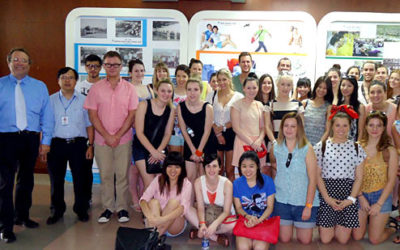RMIT School of Fashion and Textiles visiting foreign students tour a textile and garment factory in Vietnam